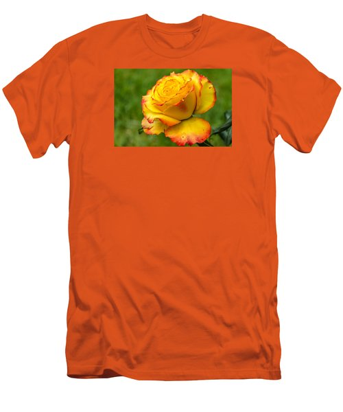 Two Toned Rose  Men's T-Shirt (Slim Fit) by Martina Fagan