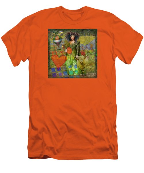Vintage Taurus Gothic Whimsical Collage Woman Fantasy Men's T-Shirt (Slim Fit) by Mary Hubley