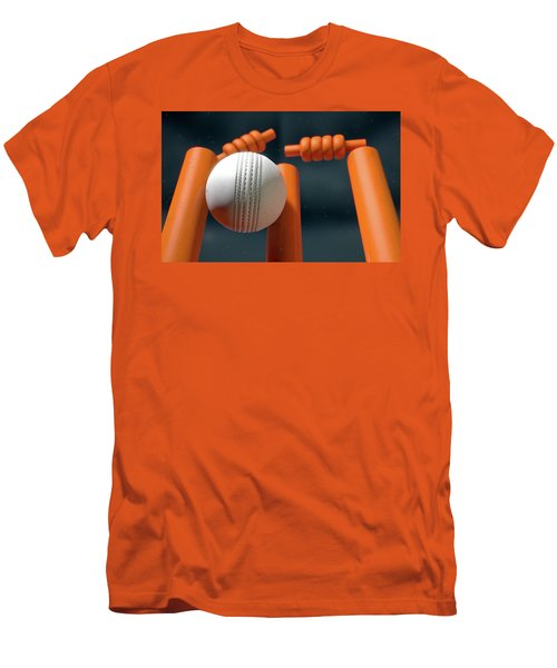 Cricket Ball Hitting Wickets Men's T-Shirt (Slim Fit)