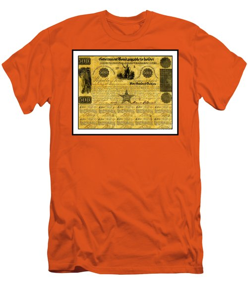 Men's T-Shirt (Athletic Fit) featuring the drawing 1841 Texas Bond Signed By David G Burnet President Of The Republic Of Texas by Peter Gumaer Ogden