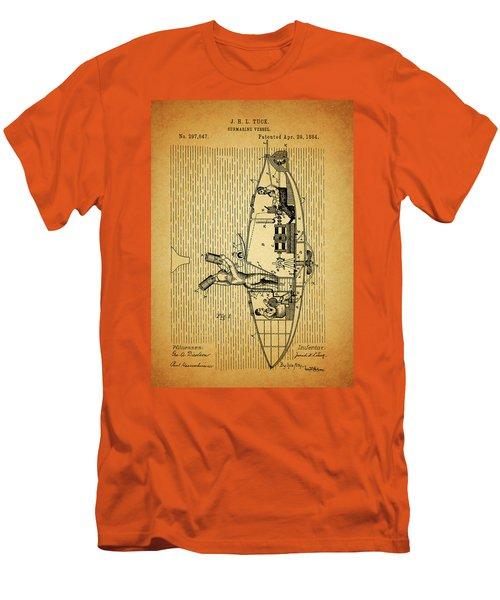 1884 Submarine Ship Patent Men's T-Shirt (Slim Fit) by Dan Sproul