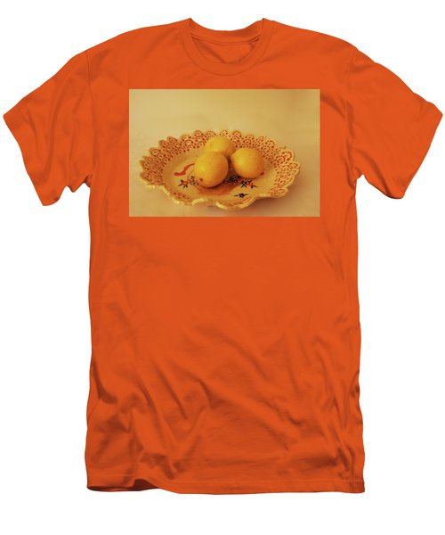 Decorated Plate With A Basket And Flowers Men's T-Shirt (Athletic Fit)