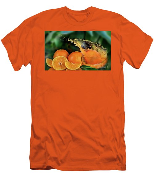 Orange Splash Men's T-Shirt (Slim Fit) by Shirley Mangini