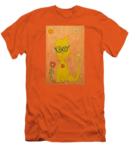 Yellow Cat With Glasses Men's T-Shirt (Athletic Fit)