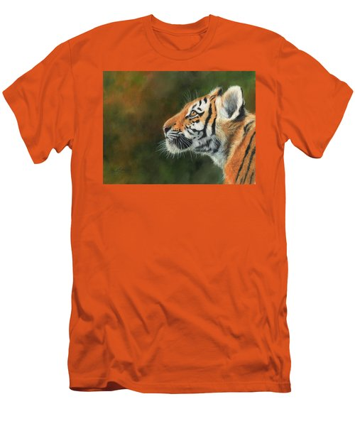 Men's T-Shirt (Slim Fit) featuring the painting Young Amur Tiger  by David Stribbling