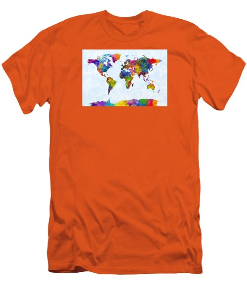 Watercolor Map Of The World Map Men's T-Shirt (Slim Fit) by Michael Tompsett