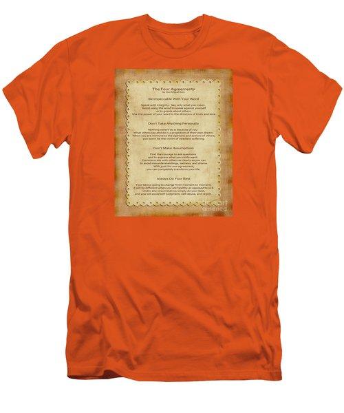 41- The Four Agreements Men's T-Shirt (Slim Fit) by Joseph Keane