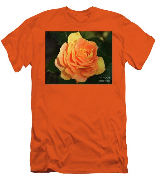 Men's T-Shirt (Slim Fit) featuring the photograph Orange Rose by Elvira Ladocki