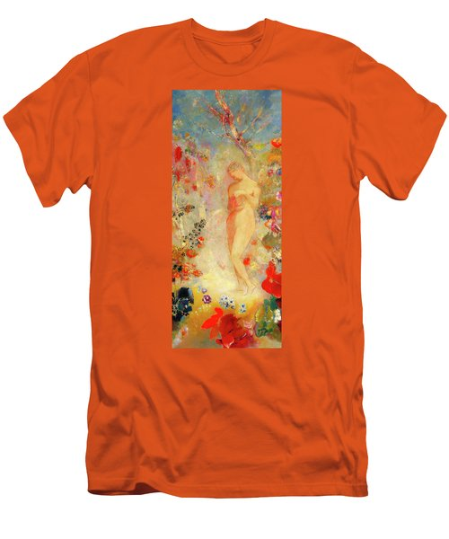 Men's T-Shirt (Slim Fit) featuring the painting Pandora by Odilon Redon