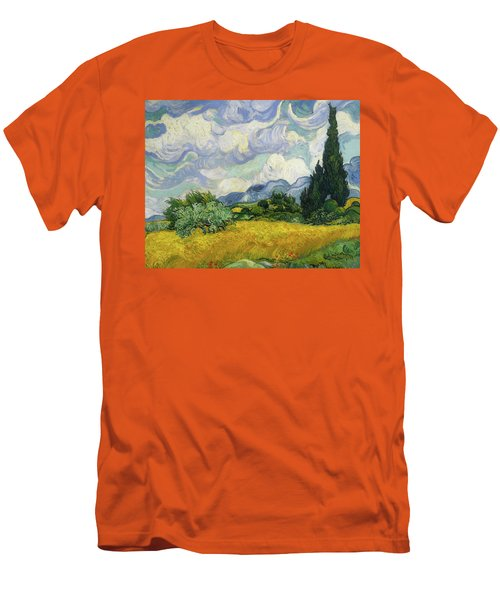Men's T-Shirt (Slim Fit) featuring the painting Wheat Field With Cypresses by Vincent van Gogh