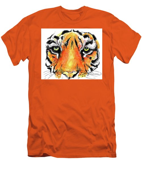 Men's T-Shirt (Slim Fit) featuring the painting A Nice Tiger by Terry Banderas