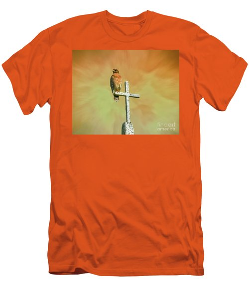 Men's T-Shirt (Slim Fit) featuring the photograph A Powerful Perch by Myrna Bradshaw