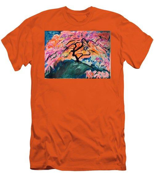 A Splendid Japanese Maple Tree Men's T-Shirt (Slim Fit) by Esther Newman-Cohen