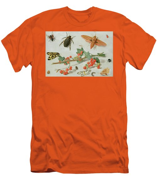 A Sprig Of Redcurrants With An Elephant Hawk Moth, A Magpie Moth And Other Insects, 1657 Men's T-Shirt (Athletic Fit)