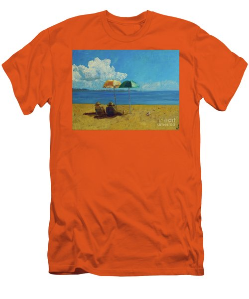 Men's T-Shirt (Slim Fit) featuring the painting A Vacant Lot - Byron Bay by Paul McKey