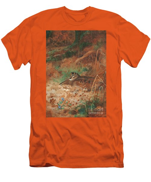 A Woodcock And Chick In Undergrowth Men's T-Shirt (Slim Fit) by Archibald Thorburn