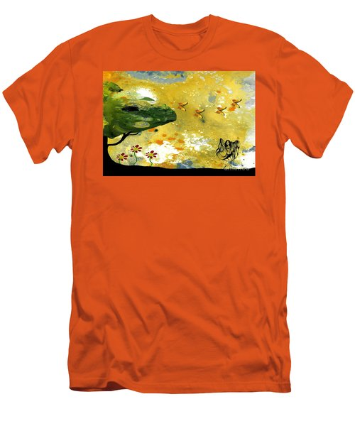 Abstract Acrylic Painting Spring Dance Men's T-Shirt (Slim Fit) by Saribelle Rodriguez