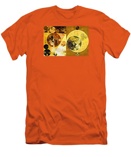 Men's T-Shirt (Slim Fit) featuring the digital art Abstract Painting - Golden Brown by Vitaliy Gladkiy