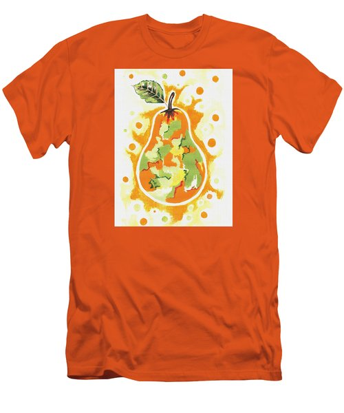 Men's T-Shirt (Slim Fit) featuring the painting Abstract Pear by Kathleen Sartoris