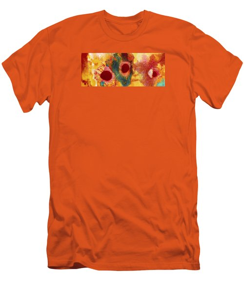 Abstract Red Flower Garden Panoramic Men's T-Shirt (Athletic Fit)