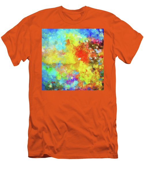 Men's T-Shirt (Slim Fit) featuring the painting Abstract Seascape Painting With Vivid Colors by Ayse Deniz