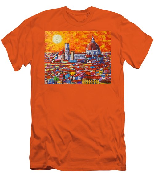 Abstract Sunset Over Duomo In Florence Italy Men's T-Shirt (Slim Fit) by Ana Maria Edulescu