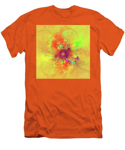 Men's T-Shirt (Slim Fit) featuring the digital art Abstract With Yellow by Deborah Benoit