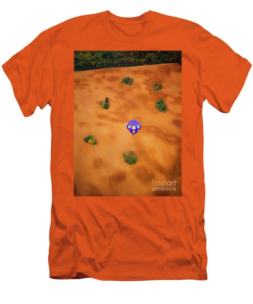 Aerial Of Hot Air Balloon Above Tilled Field Fall Men's T-Shirt (Athletic Fit)