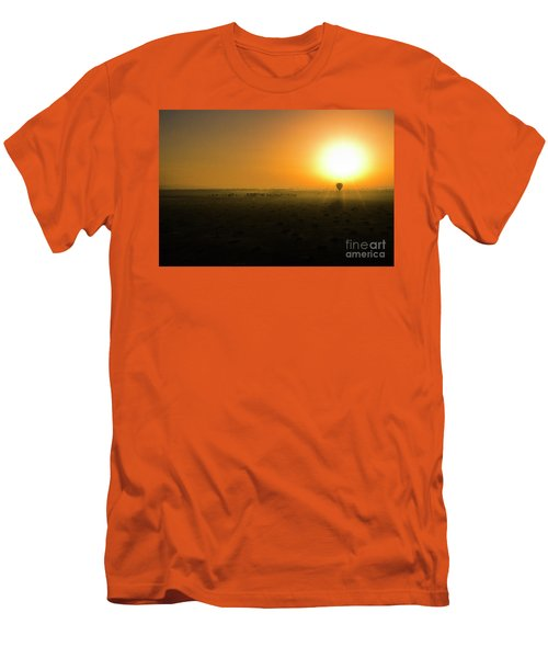 Men's T-Shirt (Slim Fit) featuring the photograph African Balloon Sunrise by Karen Lewis