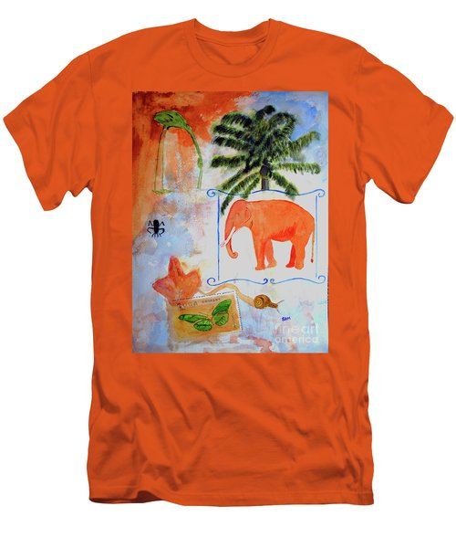 Men's T-Shirt (Slim Fit) featuring the painting All Creatures Great And Small by Sandy McIntire