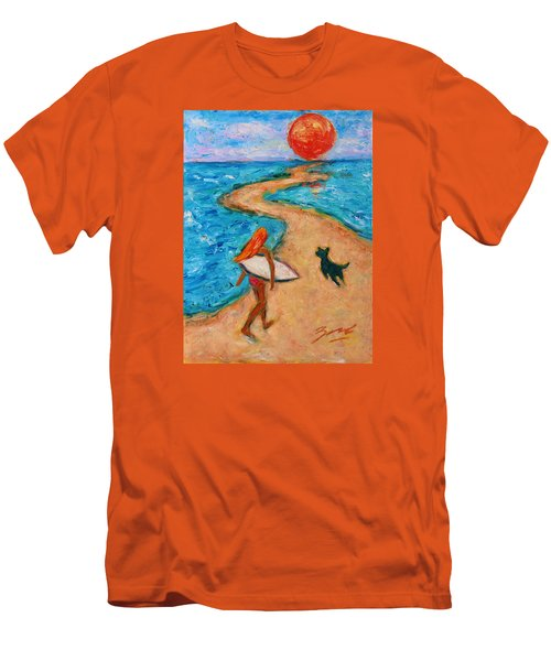 Men's T-Shirt (Athletic Fit) featuring the painting Aloha Surfer by Xueling Zou