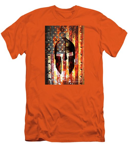 American Flag And Spartan Helmet On Rusted Metal Door - Molon Labe Men's T-Shirt (Athletic Fit)