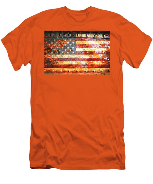 American Flag On Rusted Riveted Metal Door Men's T-Shirt (Slim Fit) by M L C
