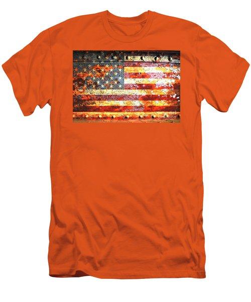 American Flag On Rusted Riveted Metal Door Men's T-Shirt (Athletic Fit)