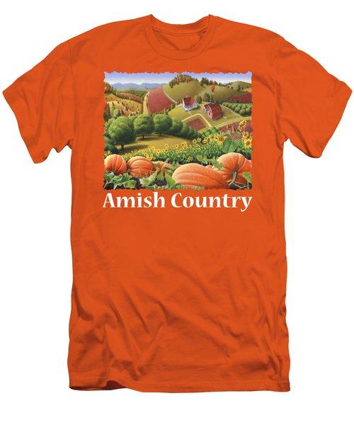 Amish Country T Shirt - Appalachian Pumpkin Patch Country Farm Landscape 2 Men's T-Shirt (Slim Fit)