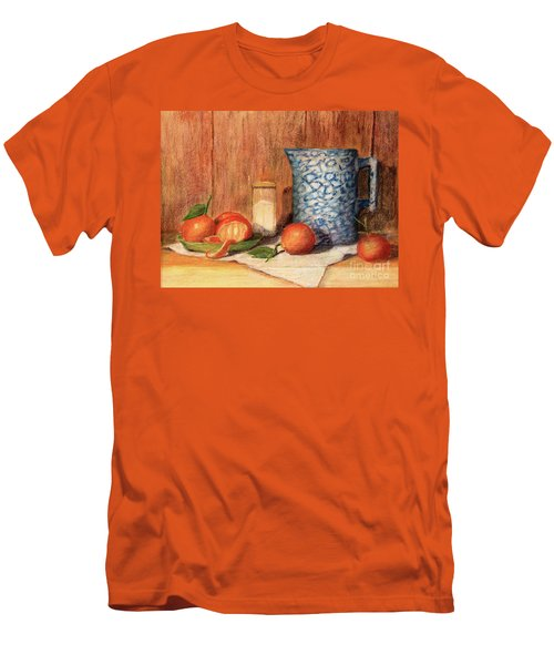 Antique Pitcher With Tangerines Men's T-Shirt (Slim Fit) by Pattie Calfy