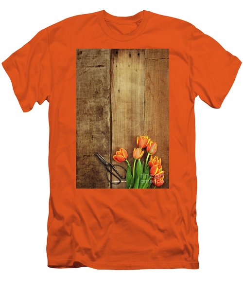 Men's T-Shirt (Slim Fit) featuring the photograph Antique Scissors And Tulips by Stephanie Frey