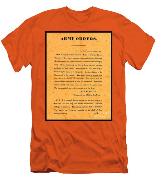 Men's T-Shirt (Athletic Fit) featuring the drawing Texian Army Orders Call To Arms Broadside From Sam Houston 1836 Texas Revolution by Peter Gumaer Ogden