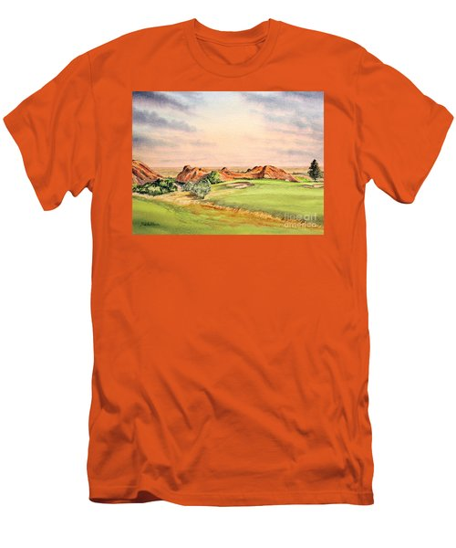 Men's T-Shirt (Athletic Fit) featuring the painting Arrowhead Golf Course Colorado Hole 3 by Bill Holkham