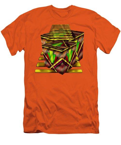 Art Deco Cubes 2 - Transparent Men's T-Shirt (Slim Fit) by Chuck Staley