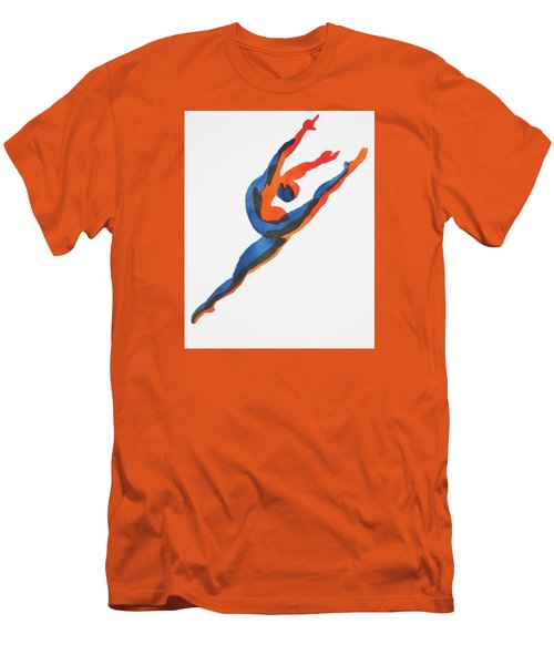 Men's T-Shirt (Slim Fit) featuring the painting Ballet Dancer 2 Leaping by Shungaboy X