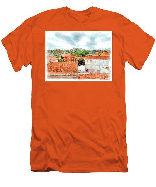 Arzachena Urban Landscape With Mountain Men's T-Shirt (Athletic Fit)