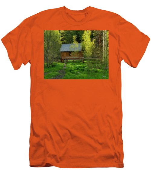 Men's T-Shirt (Slim Fit) featuring the photograph Aspen Cabin by Leland D Howard