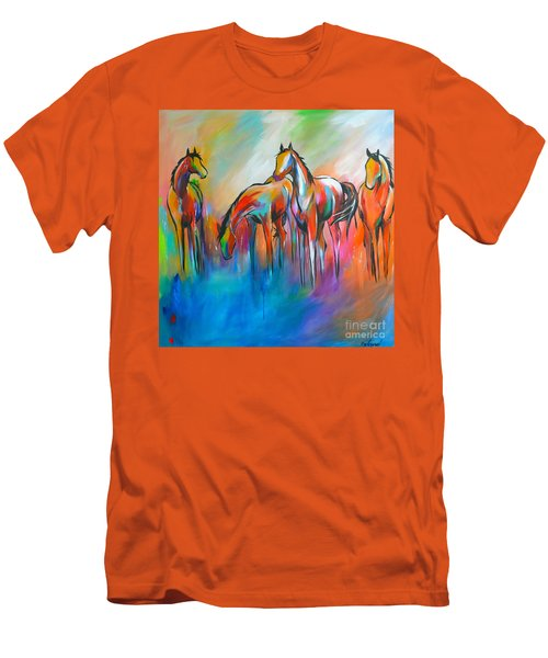Men's T-Shirt (Slim Fit) featuring the painting At The Pond by Cher Devereaux