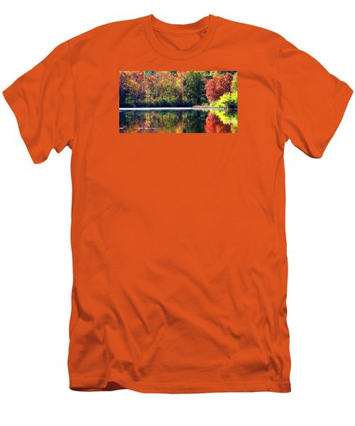Men's T-Shirt (Slim Fit) featuring the photograph Autumn At Laurel Lake by Angela Davies