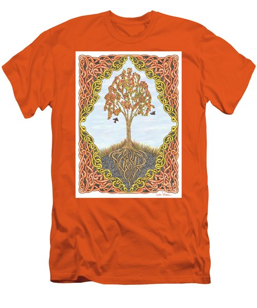 Autumn Tree With Knotted Roots And Knotted Border Men's T-Shirt (Slim Fit) by Lise Winne