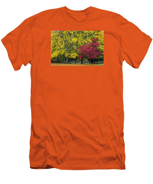 Autumn's Peak Men's T-Shirt (Slim Fit) by Jeremy Lavender Photography