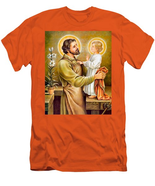 Baby Jesus Talking To Joseph Men's T-Shirt (Athletic Fit)