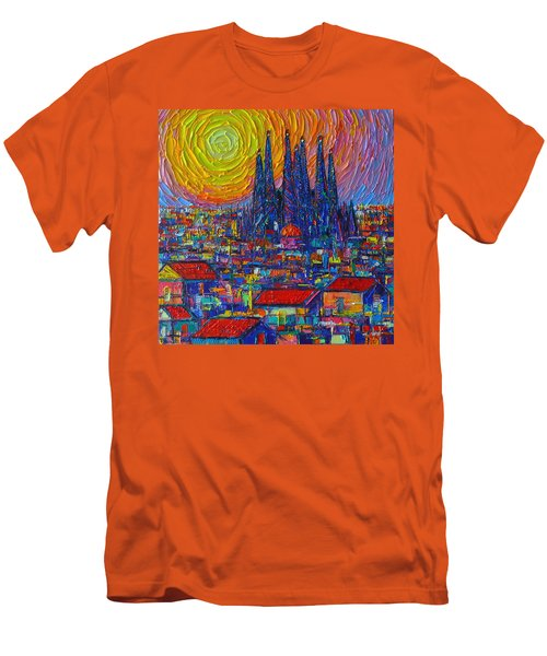 Barcelona Colorful Sunset Over Sagrada Familia Abstract City Knife Oil Painting Ana Maria Edulescu Men's T-Shirt (Athletic Fit)