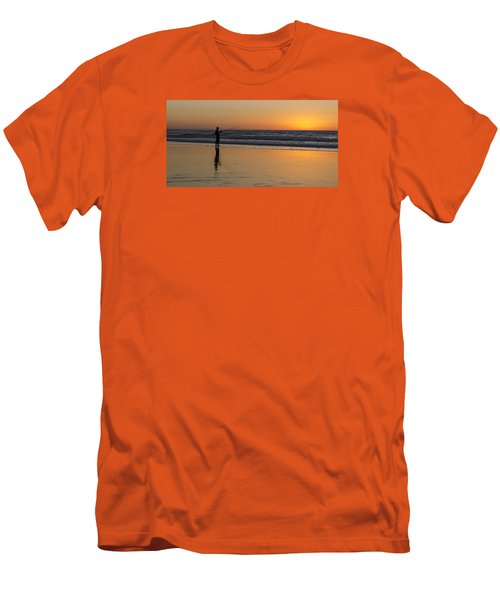 Beach Fishing At Sunset Men's T-Shirt (Slim Fit) by Ed Clark